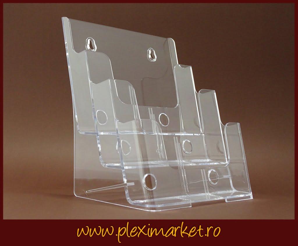 Suport pentru pliante cu 3 compartimente