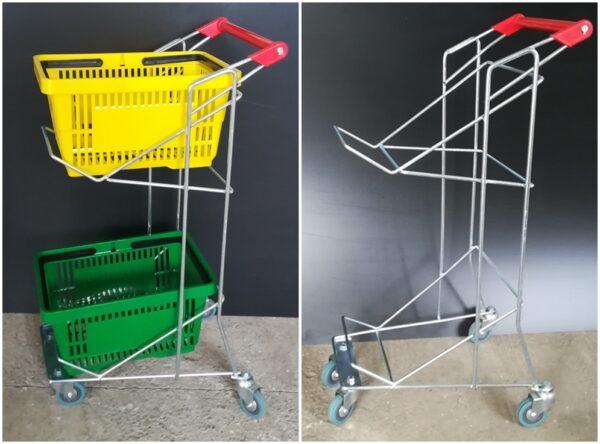 Carucior metalic pentru cosuri supermarket