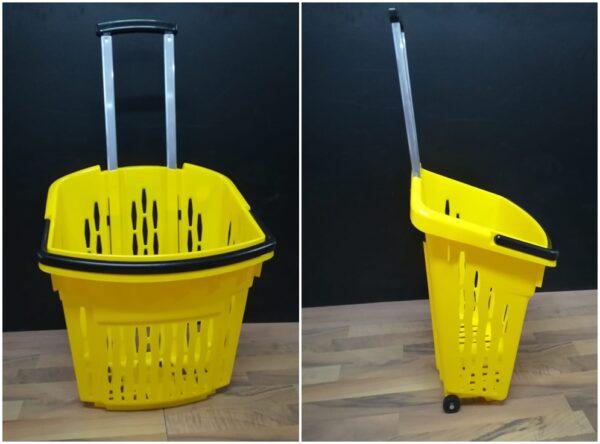 Cosuri plastic pe rotile pentru supermarket de 38 litri